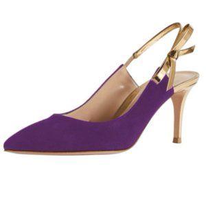 YDN Purple Cute Bow Slingback High Heel Pump